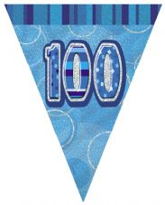 Blue Glitz '100th' Birthday Flag Banner